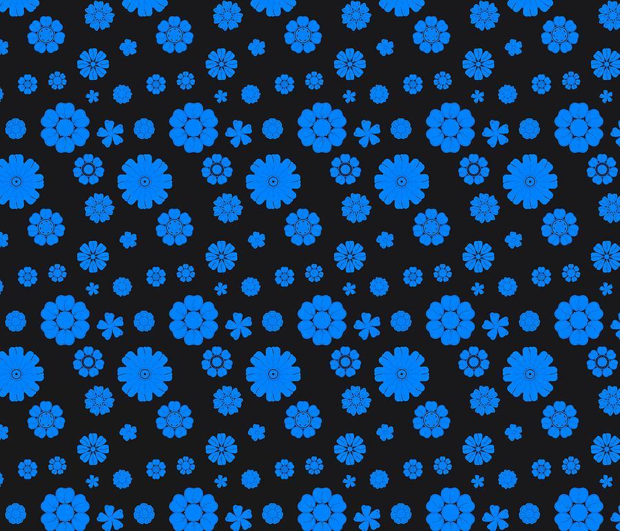 Sport Flowers Black And Blue Digital Art