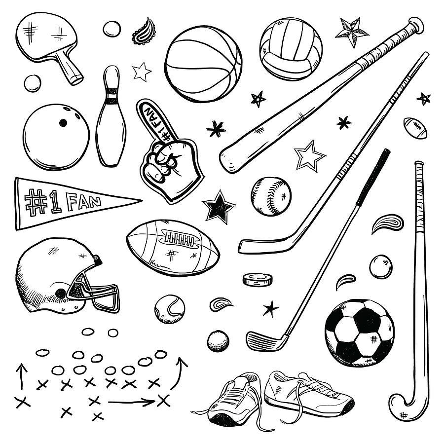 Sports doodles Drawing by Enjoynz