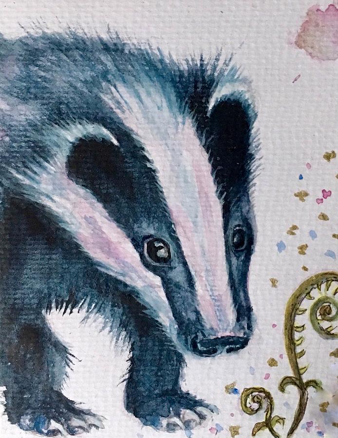 Watercolor Painting - Spring Badger  by Sharon May Nicol