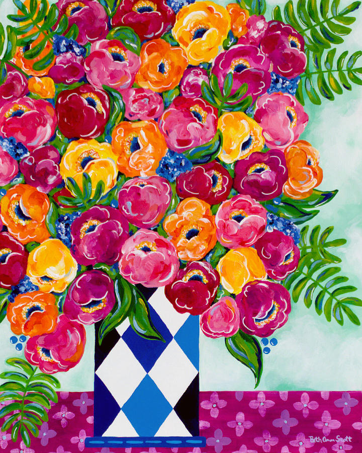 Flower Bouquet Painting - Spring Blooms by Beth Ann Scott