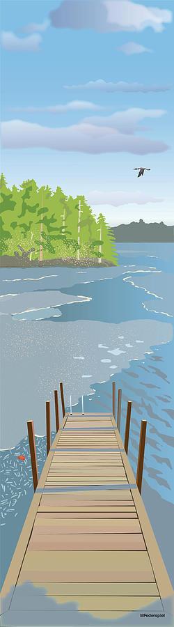 Water Digital Art - Spring Dock by Marian Federspiel