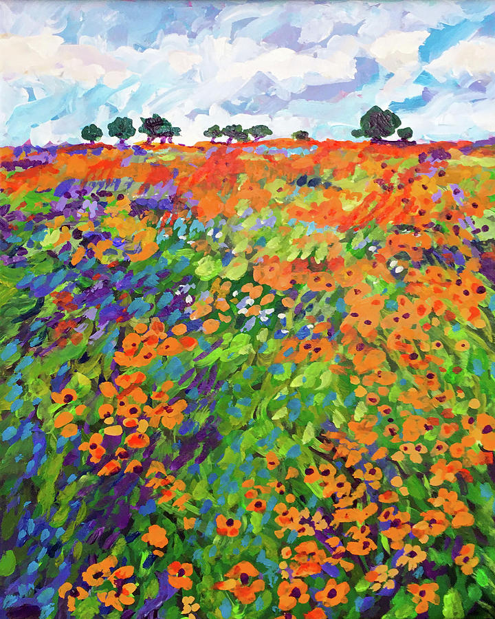 Spring Field Of Flowers Painting