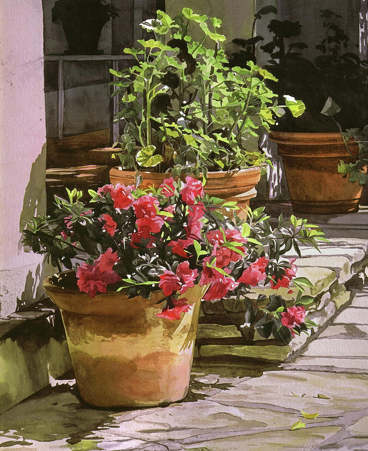 Spring Flower Pots Painting