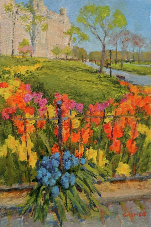 Flowers Painting - Spring Flowers on West 81st Street by Peter Salwen