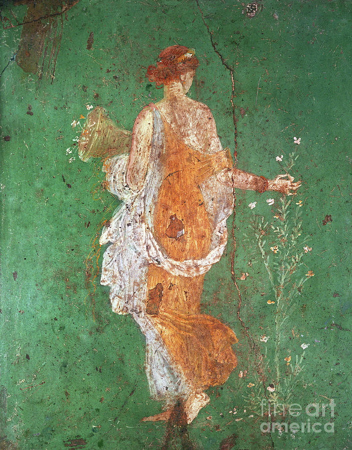 Spring Painting - Spring, maiden gathering flowers, from the villa of Varano in Stabiae by Roman School