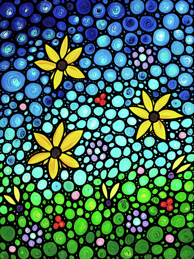 Floral Painting - Spring Maidens Large Size Flower Mosaic Art by Sharon Cummings
