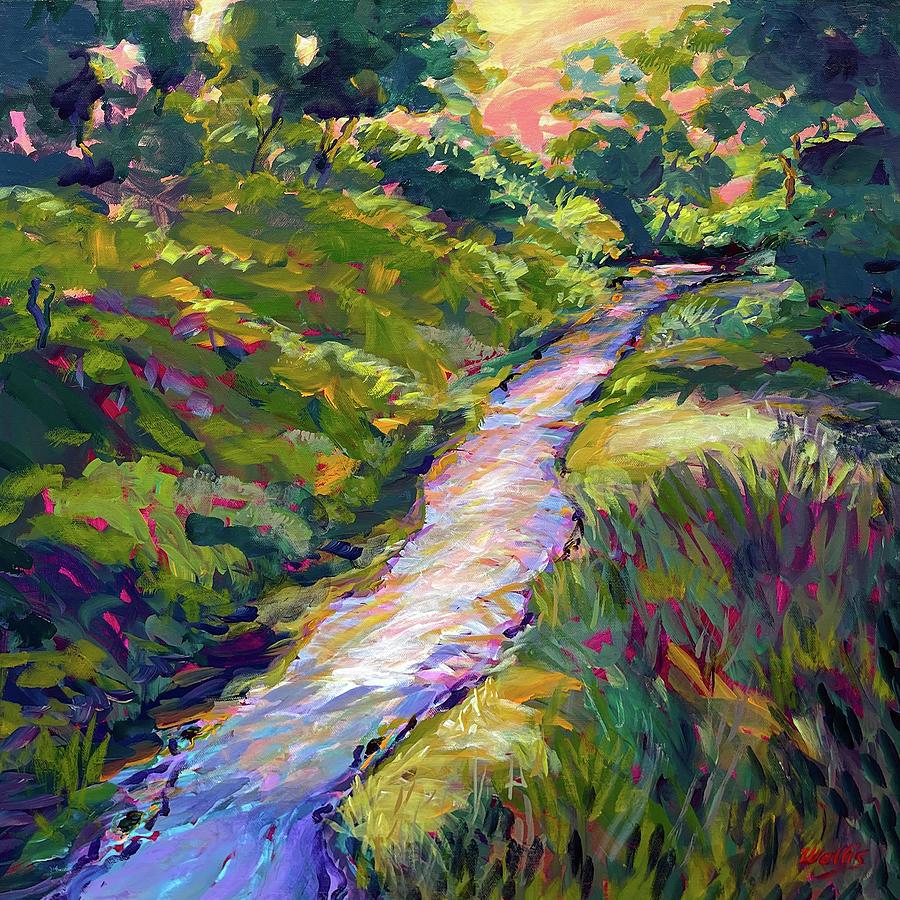 Spring Rain Fills The Dry Creek At Dusk Painting