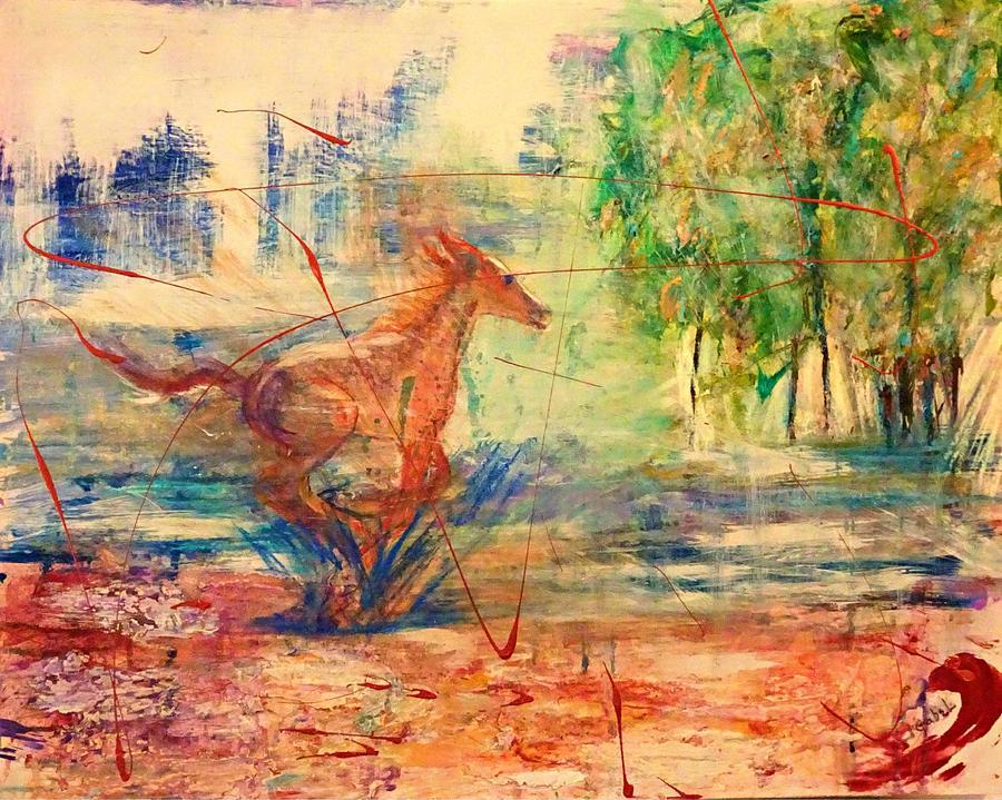 Horses Painting - Spring Romp by Laura Gabel