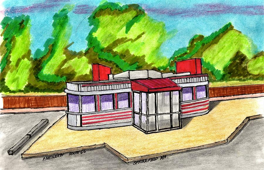 Springfield Diner Route 66 Drawing