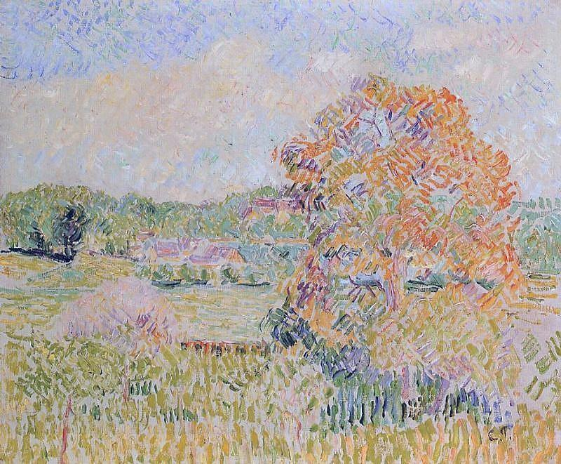 Springtime At Eragny Study 1890  By Camille Pissarro 1830 1903 Painting