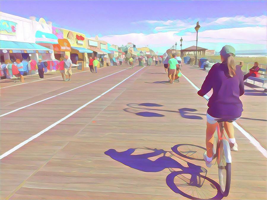 Springtime Bike Riding On The Boardwalki Digital Art