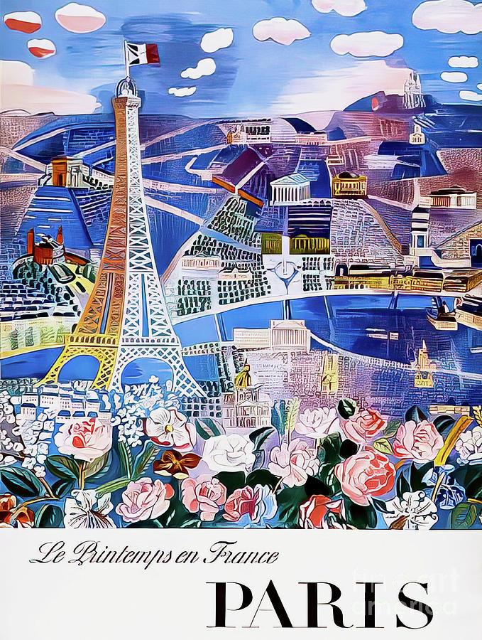 Springtime In Paris Vintage Poster 1966 Drawing