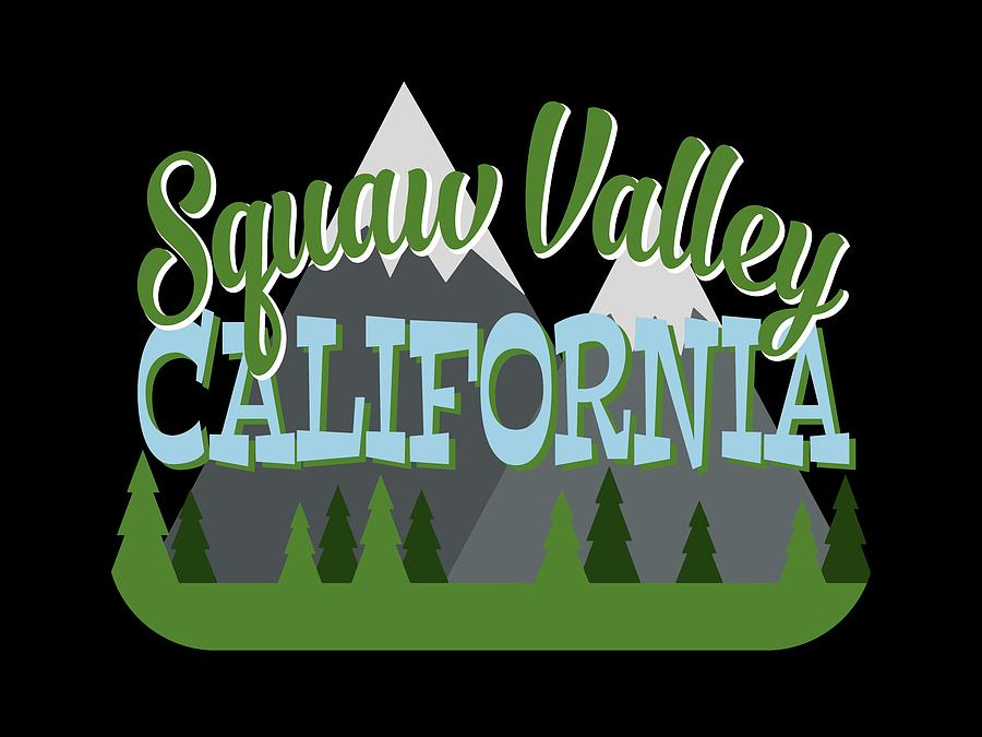 Squaw Valley Digital Art - Squaw Valley California Retro Mountains Trees by Flo Karp