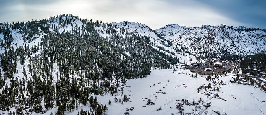 Squaw Valley Winter Aerial Panorama By Brad Scott Photograph