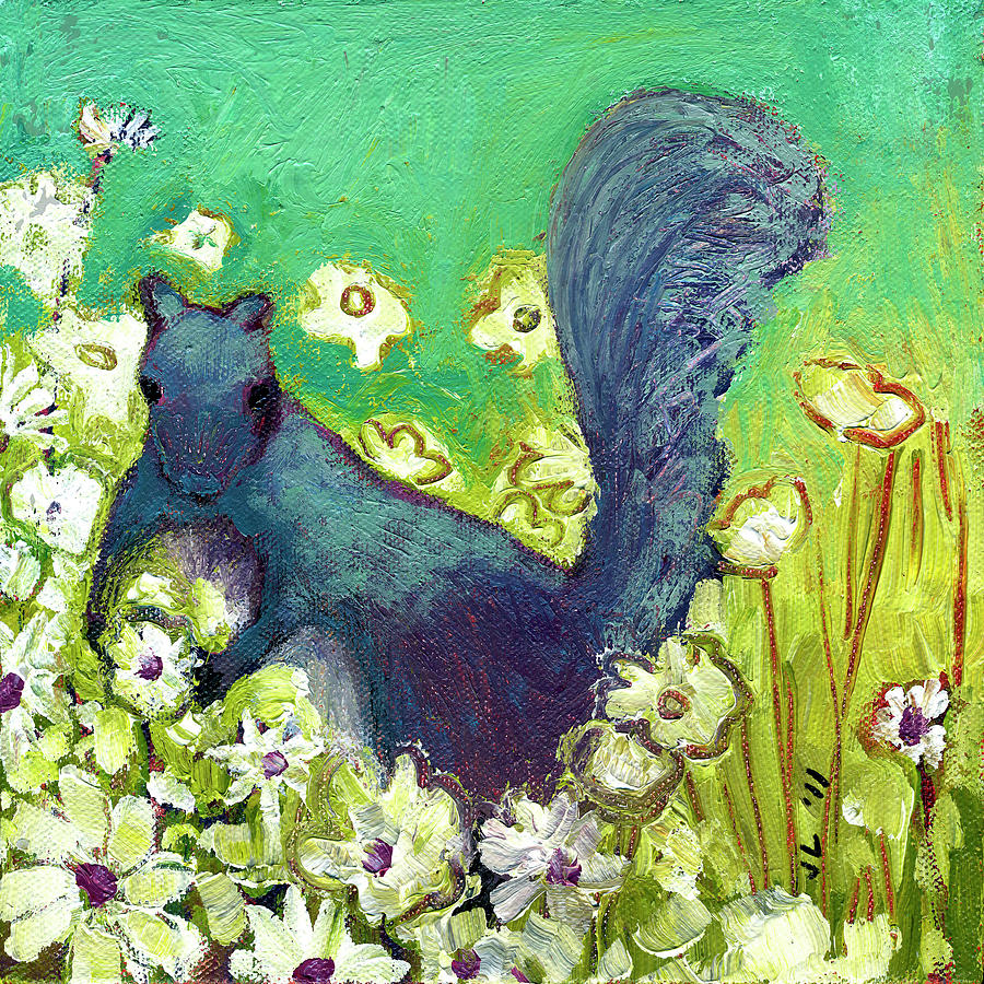 Squirrel Picking Daisies Painting