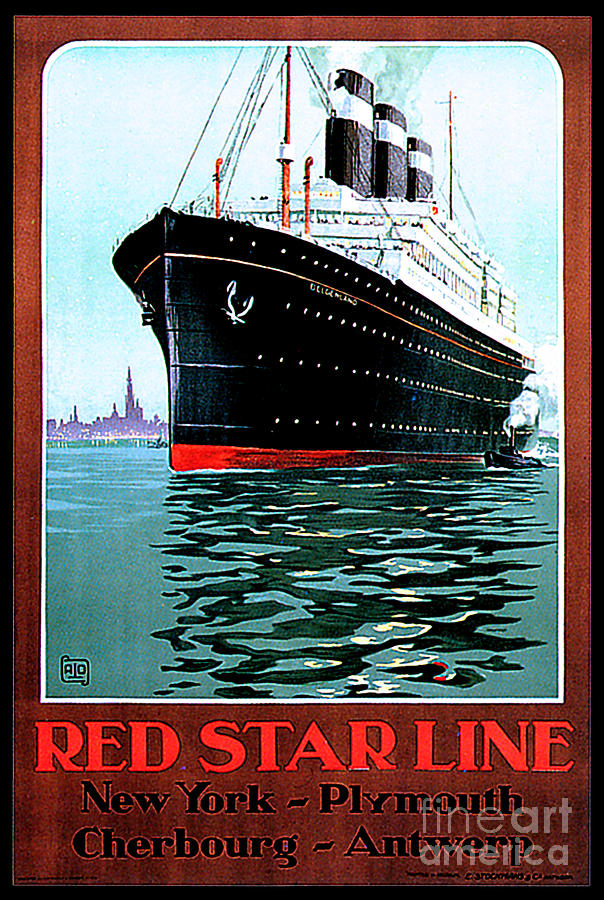 Ss Belgenland Red Star Line Travel Poster Painting
