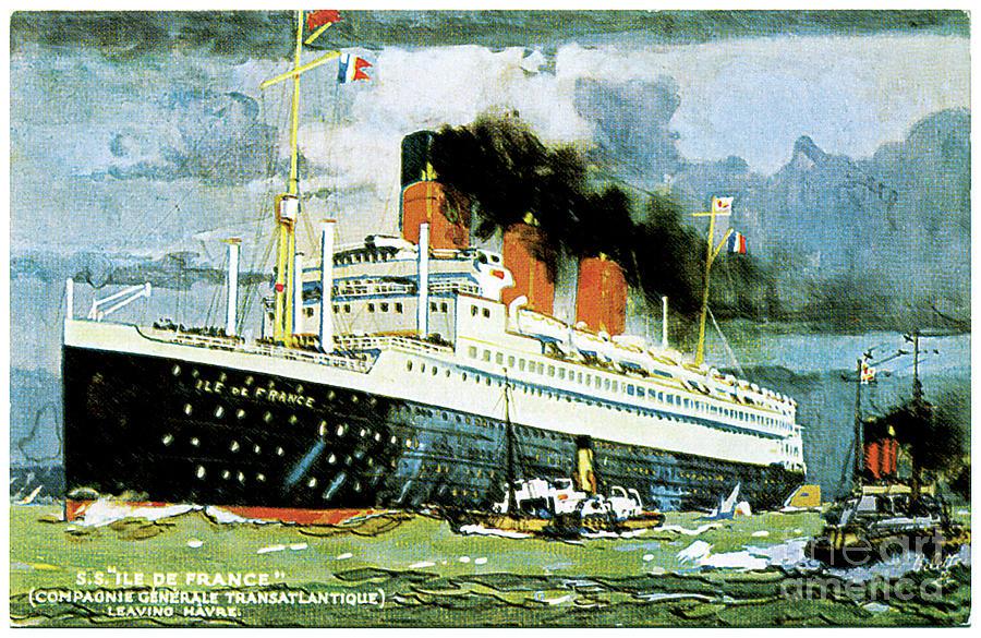 Ss Ile De France Travel Postcard Painting