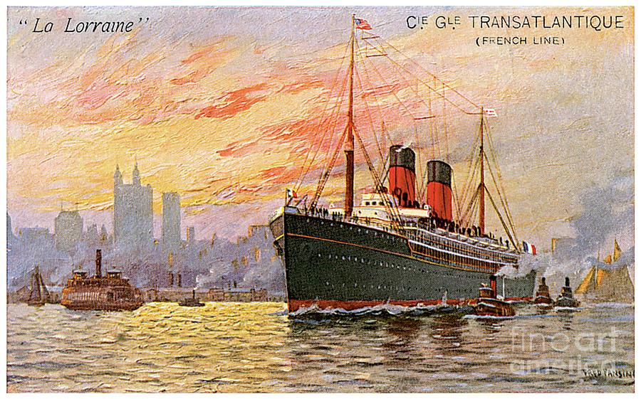 S.s. La Lorraine Travel Postcard Painting