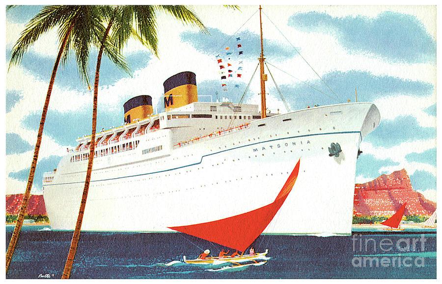 Ss Matsonia Cruiseship Postcard Painting