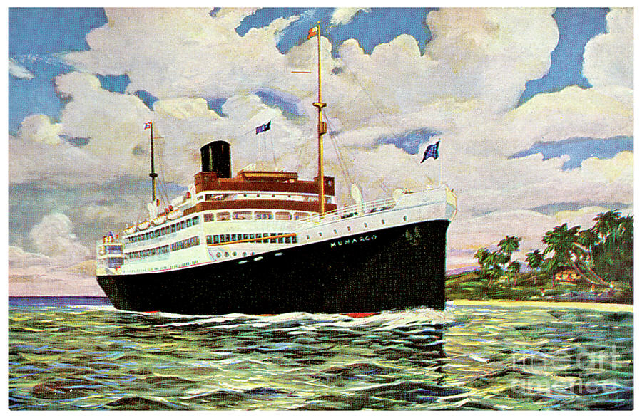 Ss Munargo Travel Postcard Painting