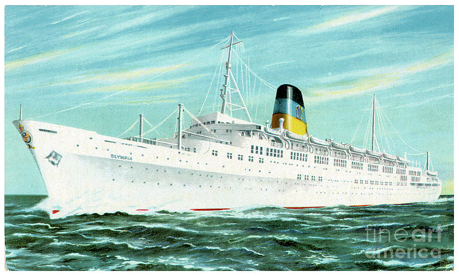 Ss Olympia Travel Postcard Painting