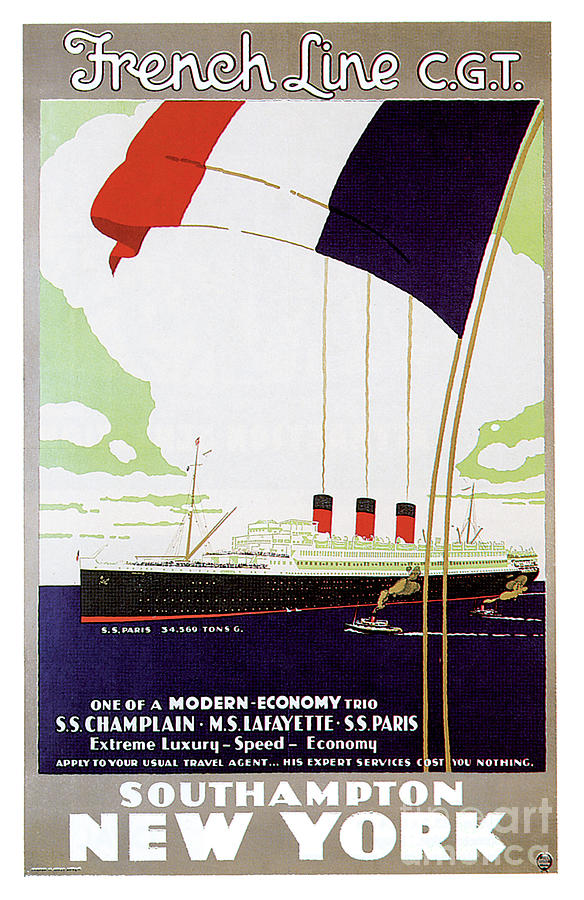 Ss Paris French Line Travel Poster Painting