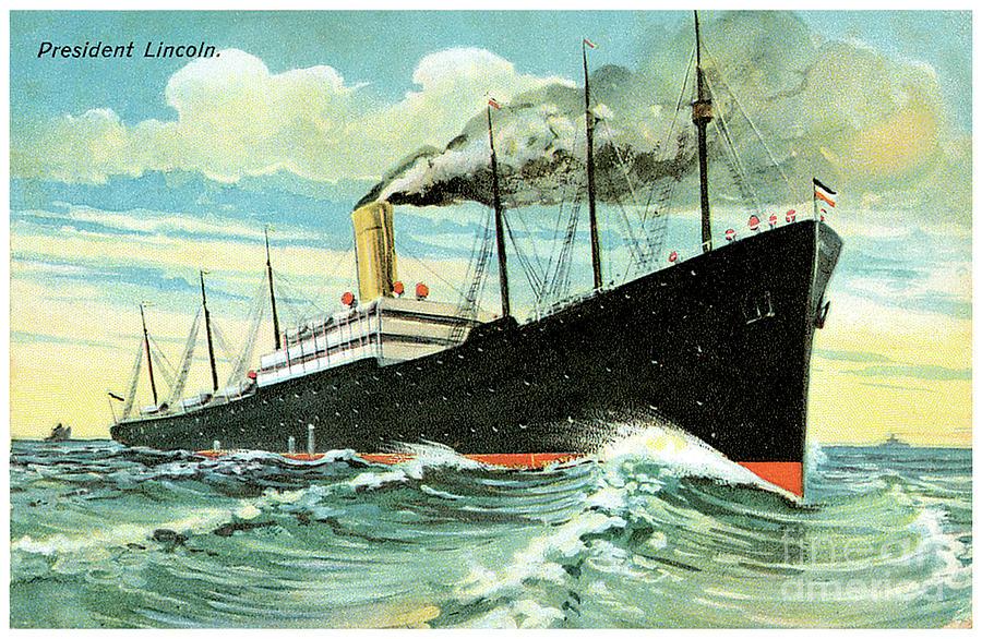 Ss President Travel Postcard Painting