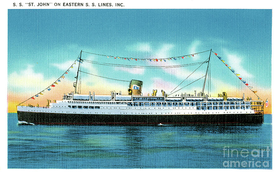 Ss St John On Eastern Steamship Lines Travel Postcard Painting