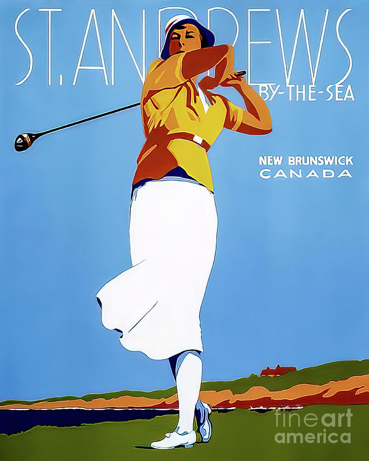 St Andrews By The Sea New Brunswick Golf Poster 1946 Drawing