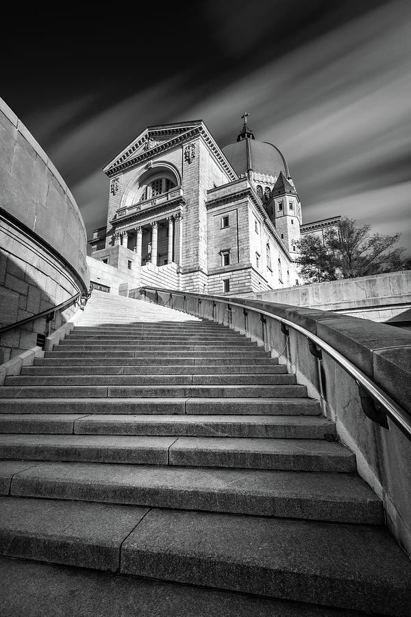 St Joseph Oratory In Montreal In Black And White Photograph