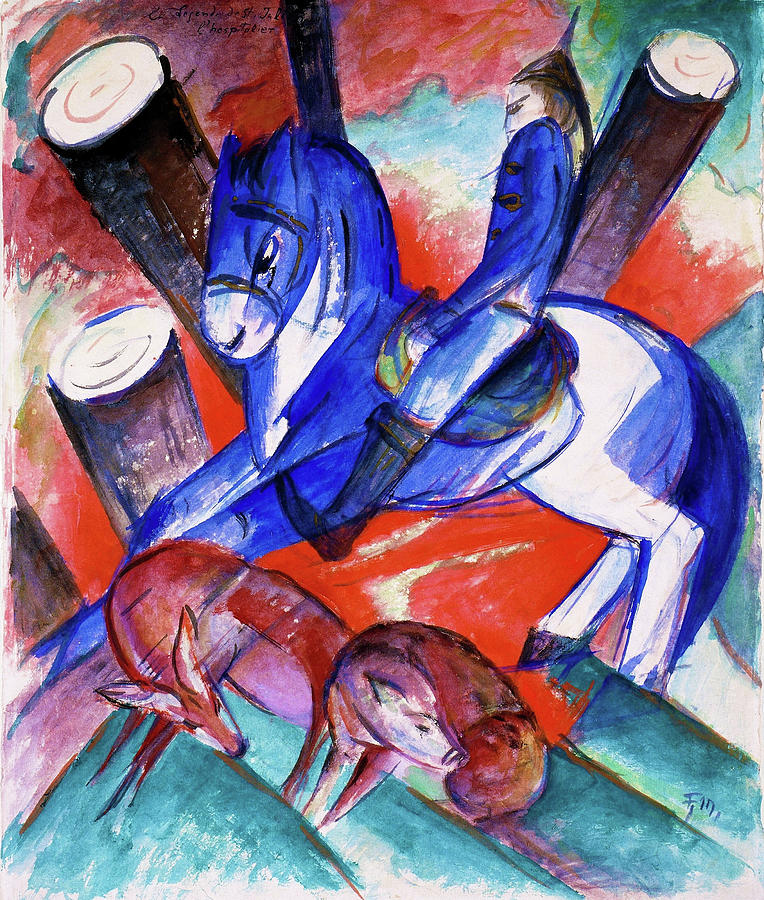 Blue Painting - St. Julian The Hospitaler - Digital Remastered Edition by Franz Marc