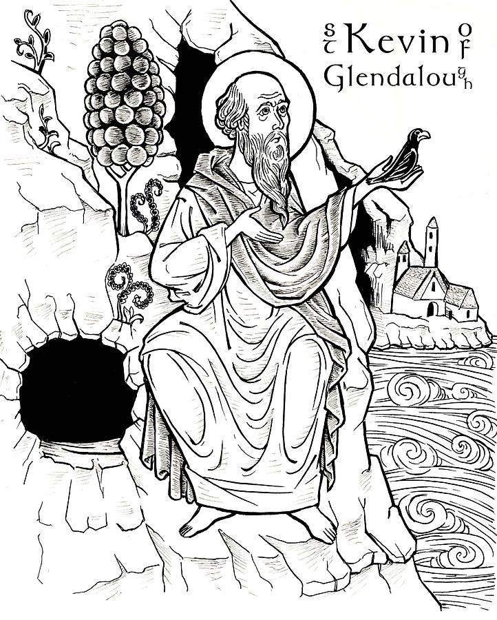 St-Kevin of Glendalough Drawing by Jonathan Pageau