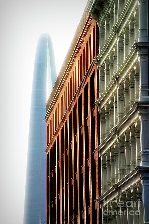 St Louis Photograph - St. Louis Arch - North View - City Flare by Chris Mautz