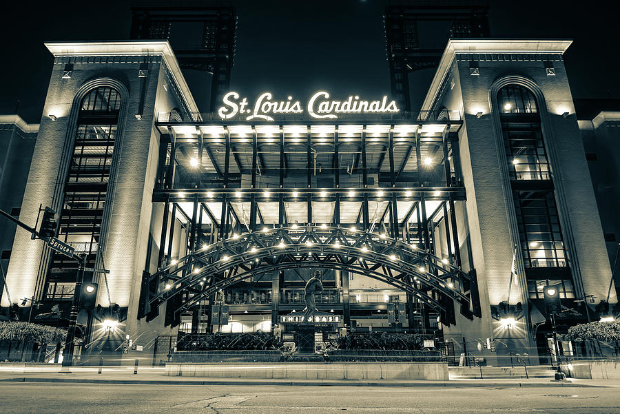St Louis Cardinals Busch Stadium And Stan Musial In Sepia Photograph