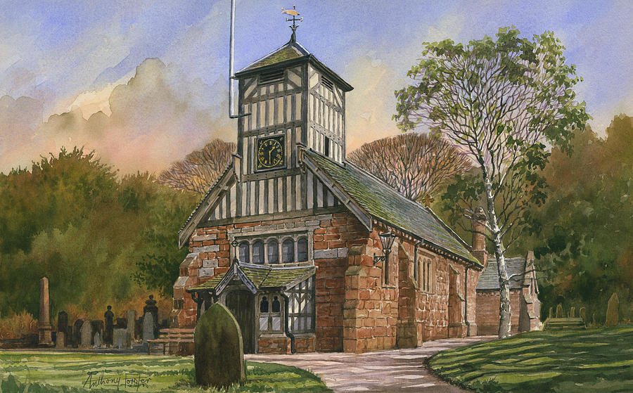 Watercolor Painting - St. Mary and all Saints by Anthony Forster