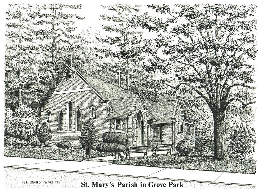 Asheville Drawing - St. Marys Parish in Grove Park by Lee Pantas