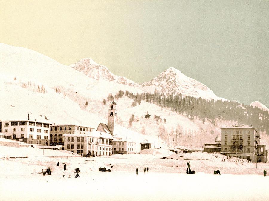 St. Moritz In Winter, Upper Engadine, Graubunden, Switzerland 1890. Photograph