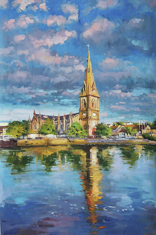 St. Muredachs Cathedral Reflections In River Moy Painting
