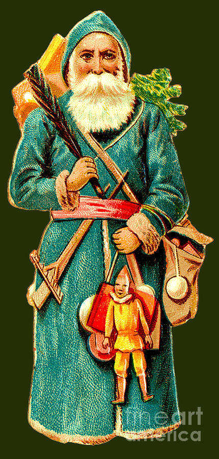 St. Nick In His Green Coat And Bag O Toys Painting