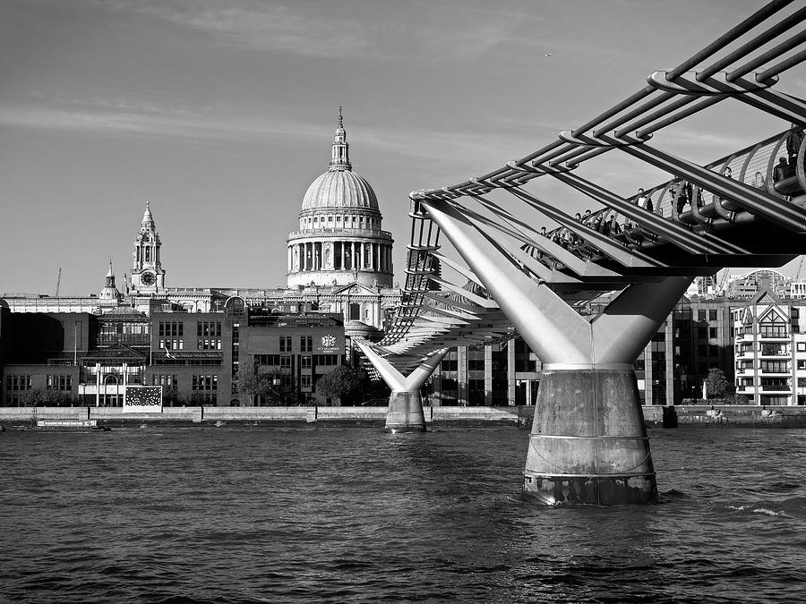 St Paul's Cathedral and Millennium Footbridge over the Thames by Santosh Puthran