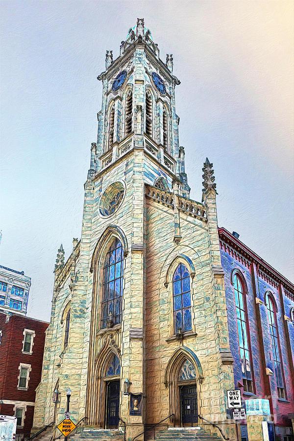 St Xavier Church Painted Mixed Media