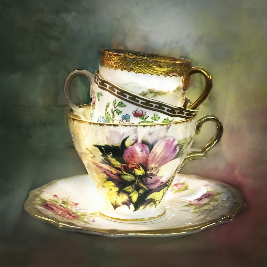 Stacked Vintage Teacups  by Harriet Feagin