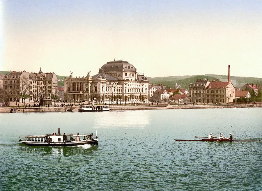 Stadttheater Zurich, Opera House, And Utoquai, Zurich, Switzerland 1891. Photograph