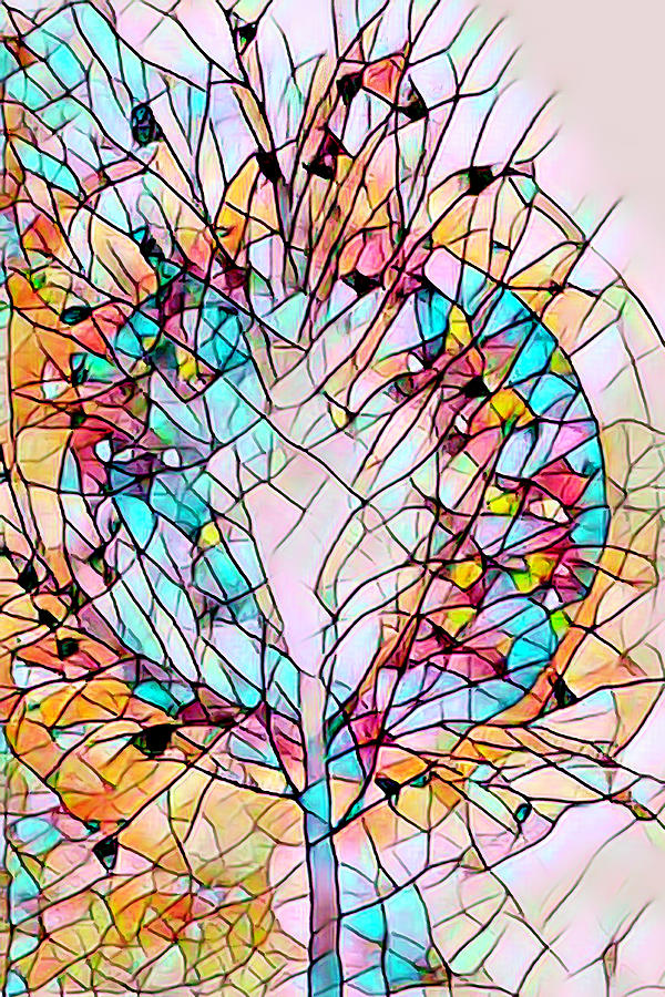 Stained Glass Spring Tree by Debra and Dave Vanderlaan