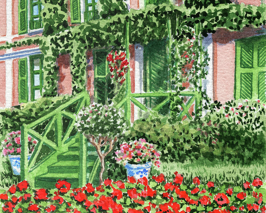 Stairs To The Garden Cozy House With Wall Vines Painting