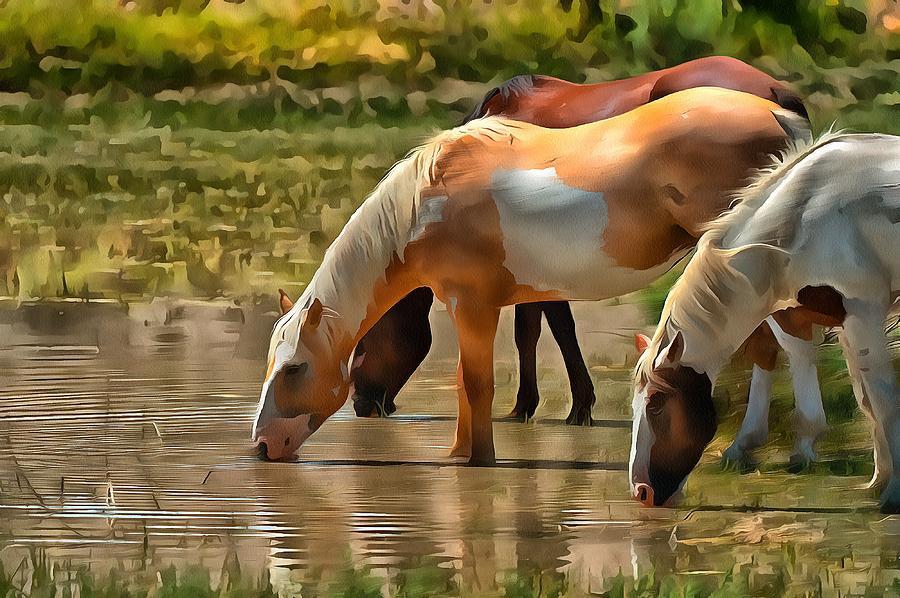 Stallions Watering by Fine Art Western Paintings