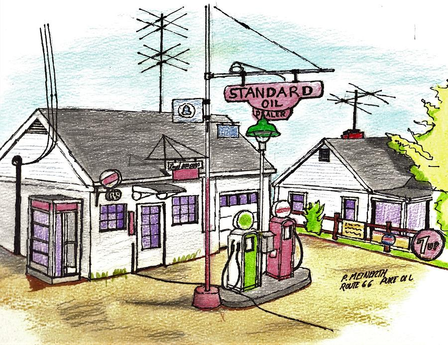 Standard Oil Route 66 Drawing