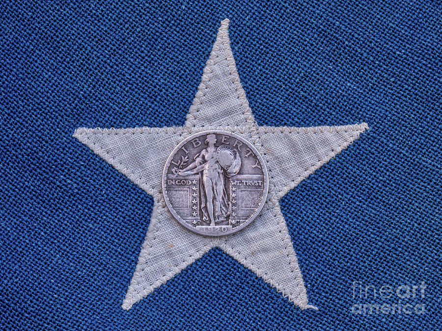 The Good Old Days Photograph - Standing Liberty Quarter on Flag Star by Randy Steele