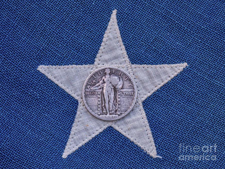 Standing Liberty Quarter On Flag Star Photograph