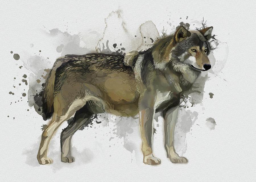 Standing Wolf Vintage Digital Art